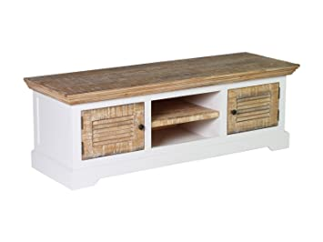 Woodkings® TV Bank Manila, Lowboard, Pinie rustikal, MDF weiß, TV-Unterschrank, Sideboard fur TV aus Echtholz, TV Möbel, Fernsehunterschrank, Wohnmöbel, Fernsehmöbel, Landhausstil