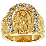 The Bling Factory Large 18mm 14k Gold Plated Guadalupe Virgin Mary CZ Horseshoe Ring, Size 13 + Jewelry Polishing Cloth (Color: Gold Plated Ring + Anti-Tarnish Velvet Pouch)