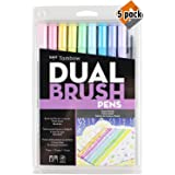 Tombow 56187 Dual Brush Pen Art Markers, Pastel, 10-Pack. Blendable, Brush and Fine Tip Markers - 5 Pack (Color: 5 Pack (Pastel))