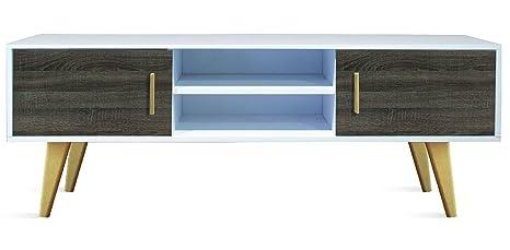 Meuble TV avec 2 portes coloris Blanc / Britania - Dim : L150 x H 55 x P 35 cm -PEGANE-