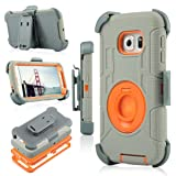 Galaxy S6 Edge Case, Jwest [Heavy Duty] Full-body Rugged Dual Layer Hybrid Armor Defender Holster Case WITHOUT Built-in Screen Protector for Samsung Galaxy S6 Edge (2015 Release) (Gray/Orange) (Color: 026-Gray/Orange)