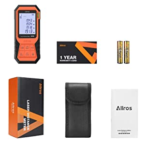 ALLROS Laser Measure 131ft M/In/Ft Digital Laser Distance Meter with Mute Function 2.0 inch Large Backlit LCD Display, Bubble Levels, Measure Distance,Area Volume and Pythagorean, Battery Included (Tamaño: Small)