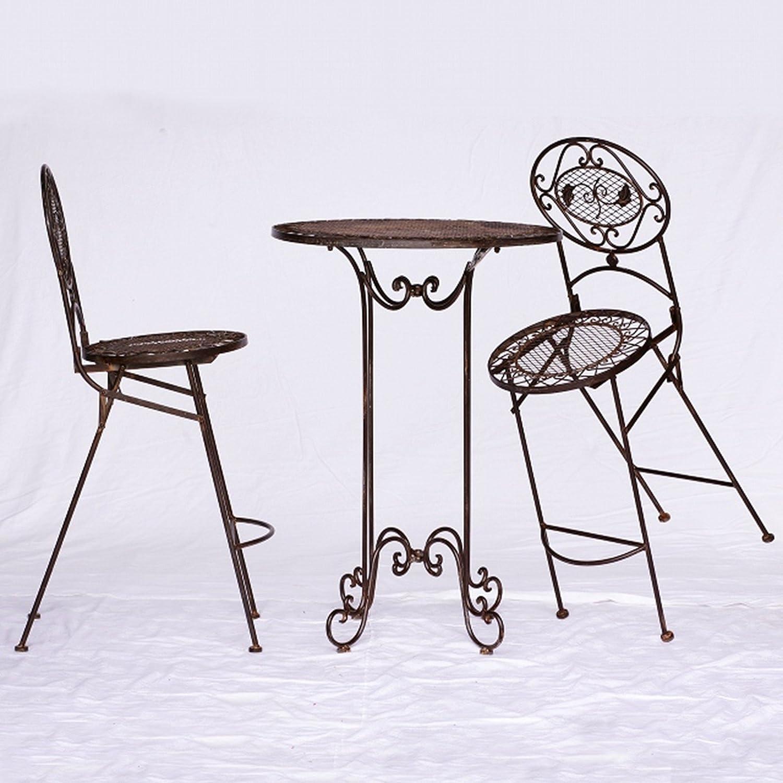 Barset Gartenmöbel Bartisch Barset 1 Tisch & 2 Stühle braun antik Innen & Außen günstig kaufen