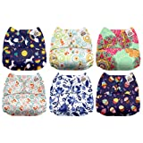 Mama Koala One Size Baby Washable Reusable Pocket Cloth Diapers, 6 Pack with 6 One Size Microfiber Inserts (Little Miss Perfect) (Color: Little Miss Perfect, Tamaño: One Size)