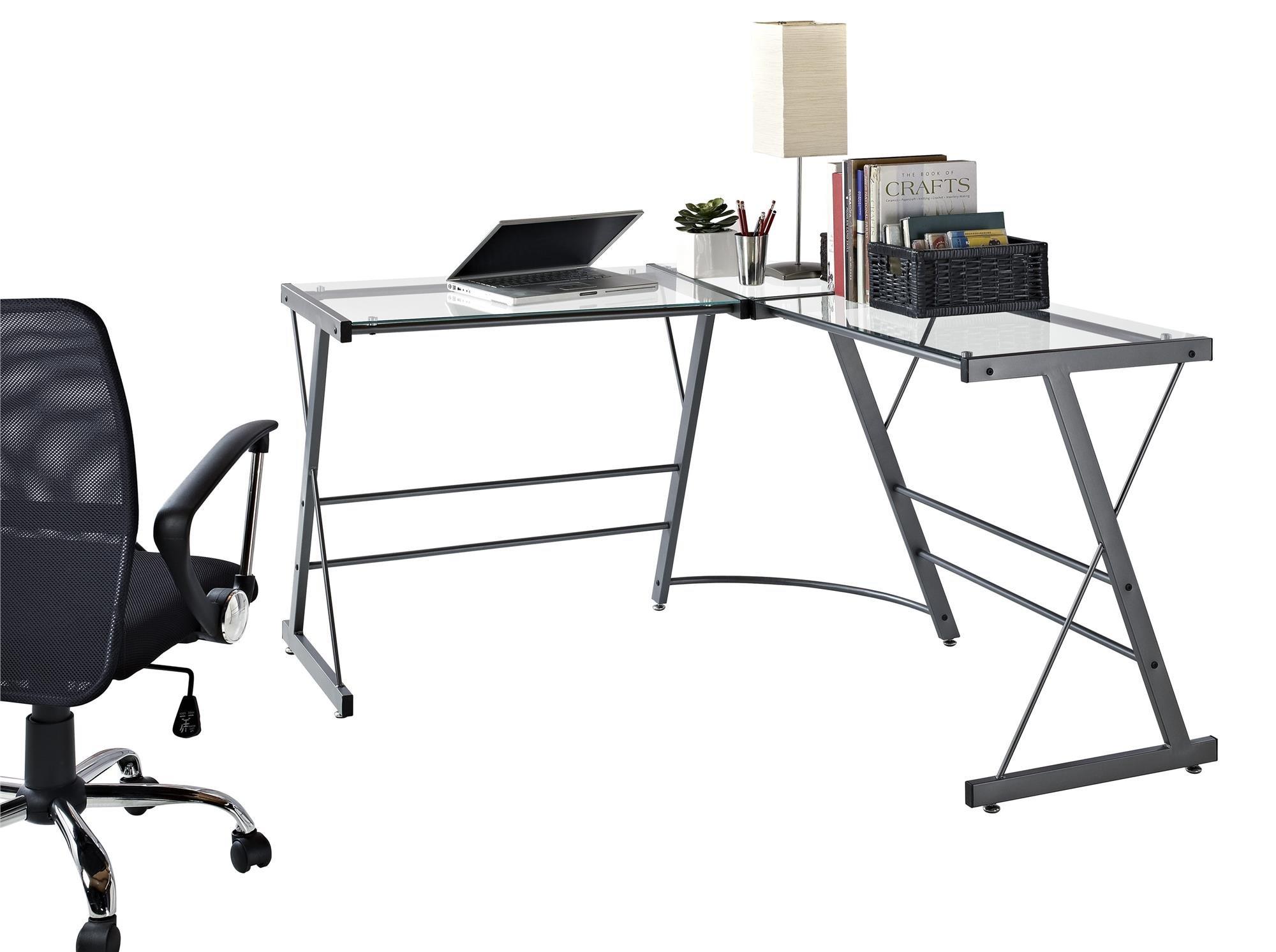 altra odin glass l shaped computer desk gray ebay. Black Bedroom Furniture Sets. Home Design Ideas