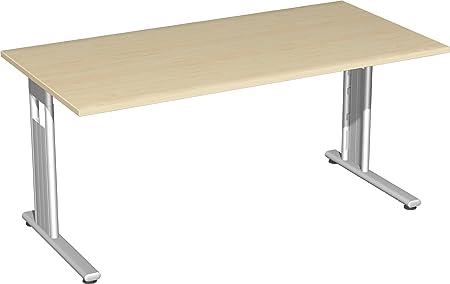 Gera Meubles de 618103S Ah/SI Bureau Lisbonne, 160x 80x 72cm, érable/Argent