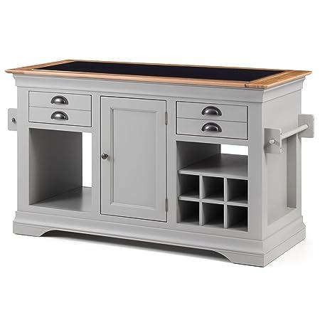 Kansas grey painted furniture large granite top kitchen island unit worktop