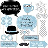 Big Dot of Happiness Winter Wonderland - Snowflake Holiday Party and Winter Wedding Photo Booth Props Kit - 20 Count (Color: Blue, Silver, White)