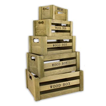 aufbewahrungsbox vintage holzkisten 5er set braun holzboxen holzkiste holzbox dekokiste kiste. Black Bedroom Furniture Sets. Home Design Ideas