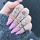 Setita 10 Pieces Stylish Turquoise Joint Knuckle Nail Midi Ring Set Boho Ring Set (Color: Silver)
