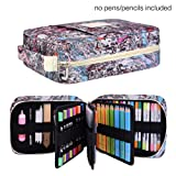 202 Colored Pencils Pencil Case / 136 Color Gel pens Pen Bag/Marker Organizer - Universal Artist use Supply Zippered Large Capacity Slot Super Big Professional Storage qianshan Fresh (Color: Fresh202)