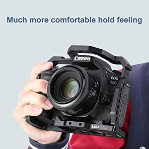 UURig C-EOS 90D Camera Cage for Canon EOS 90D/80D/70D, Microphone/Fill Light Extension Cold Shoe Mount Bracket 1/4 Screw