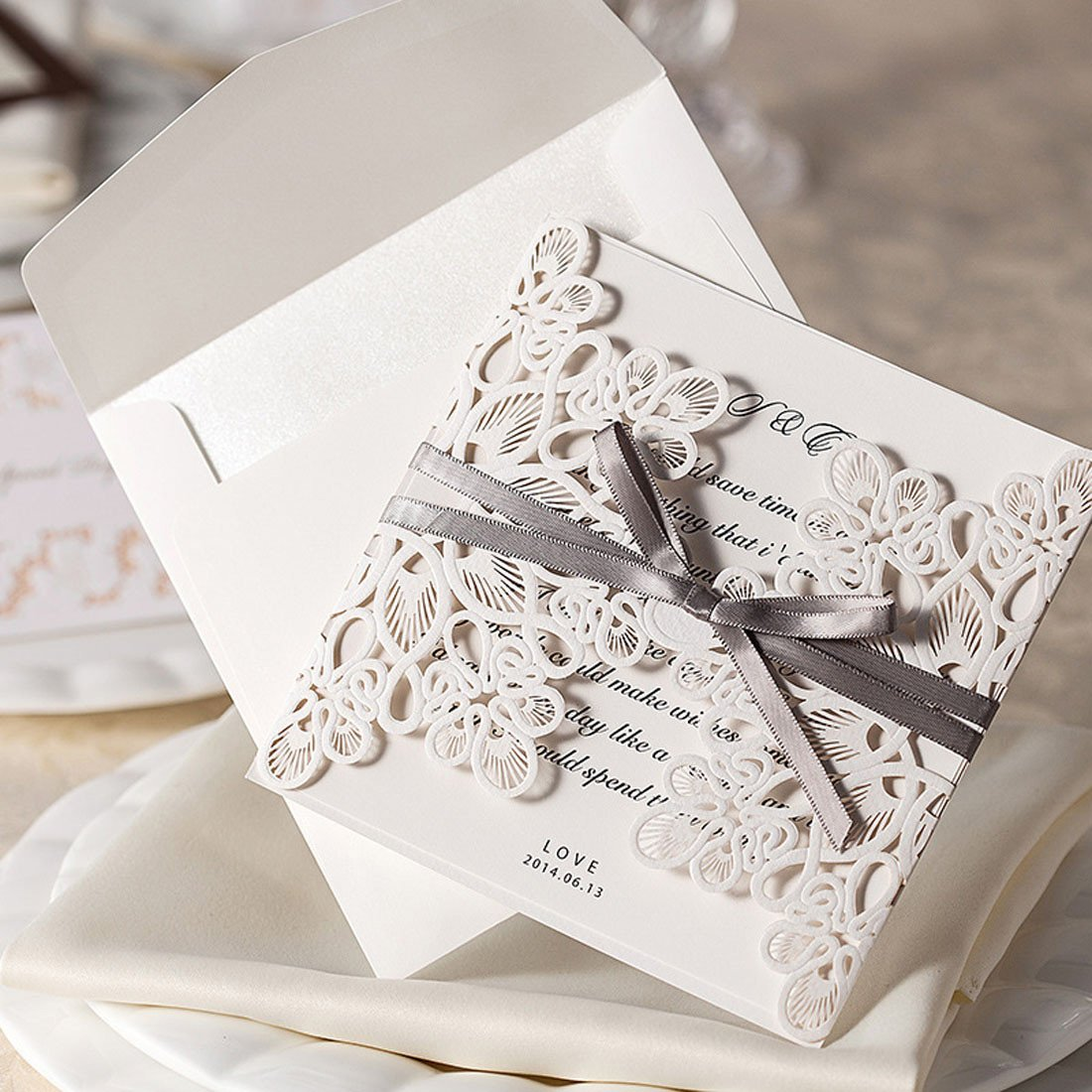 WISHMADE 50 Count Luxury Elegant Laser Cut Invitations Cards Kits White Printable for Wedding Birthday Baby Shower Bridal Shower with Ribbon and Envelopes 2