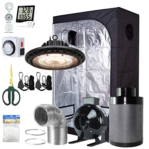"300W LED Grow Light+Grow Tent+4/"" Inline Fan Carbon Air Filter Ducting Combo"