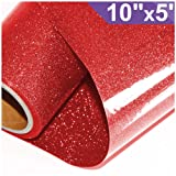 ARHIKY Glitter Heat Transfer Vinyl HTV for T-Shirts 10Inches by 5 Feet Rolls(Red) (Color: Red)