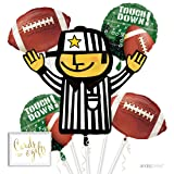 Andaz Press Balloon Bouquet Party Kit with Gold Cards & Gifts Sign, Football Superbowl Party Foil Mylar Balloon Decorations, 1-Set (Color: Sports Football)