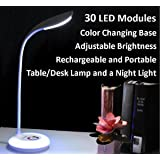 Portable Rechargeable Adjustable Brightness LED Table/Desk Lamp with Color Changing Base, White (Color: White)