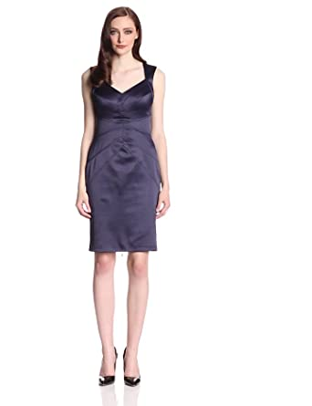 Jessica Simpson Women's Satin Dress with Exposed Zipper, Navy, 6