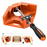 Right Angle Clamp, Housolution Single Handle 90° Aluminum Alloy Corner Clamp, Right Angle Clip Clamp Tool Woodworking Photo Frame Vise Holder with Adjustable Swing Jaw - Orange (Color: 3-Orange, Tamaño: TPR Handle)