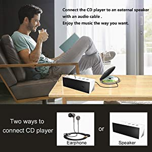 Rechargeable Portable CD Player, CCHKFEI Personal Compact Disc Player with LCD Display,Headphones and USB Charging Cable Compact Walkman with Anti-Scratch Skip Protection Anti-Shock Function (Color: CCHKFEI-CD Player-711-black)