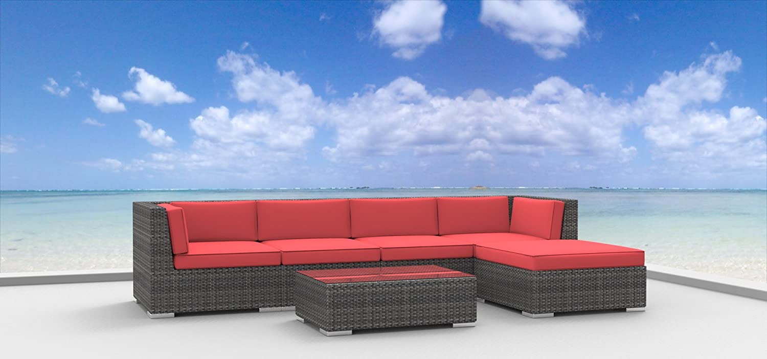 www.urbanfurnishing.net Urban Furnishing - MALO 6pc Modern Outdoor Backyard Wicker Rattan Patio Furniture Sofa Sectional Couch Set - Coral Red at Sears.com