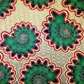 African Print Fabric Cotton Print Vortex 44'' wide By The Yard Red Green