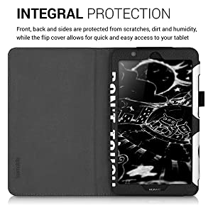 kwmobile Case for Huawei MediaPad T3 7.0 - Slim PU Leather Protective Tablet Cover with Stand Feature - White/Black (Color: .Don't Touch My Pad white / black, Tamaño: 7 Inch)
