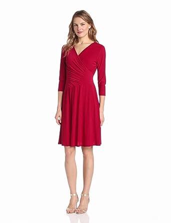 Evan Picone Women's Matte Jersey Surplice Trim Jazz Dress, Red Lacquer, 4