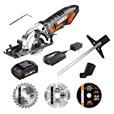 WORX WX523L.2 20V 1.5Ah Cordless Lithium Worxsaw with 1 TCT Blade, 1 Diamond Blade, 1 HSS Blade Battery and Charger Included