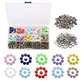 KINGSO Stainless Steel Snaps Buttons Colorful Style No-Sew Button Fasteners Press Studs for Snap with Organizer Storage Case Solid Button (Color: Solid Button)