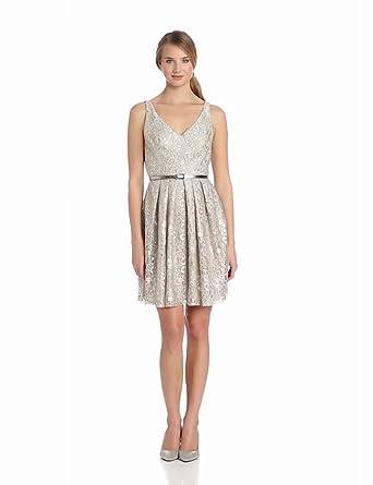 Donna Morgan Women's Sleeveless V Neck Dress with Pleated Full Skirt, Sandstone/Silver, 10