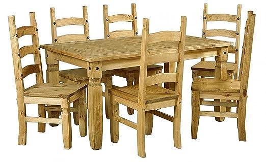 Mercers Furniture Corona Ausziehbarer Tisch mit 6Stuhlen, Holz, Antik Wachs, groß