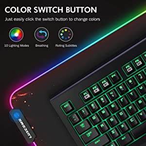 LUXCOMS Large RGB Gaming Mouse Pad,Ergonomic Gel Computer Extended Computer Keyboard Mousepad (31.5 X 11.8 X 0.15 in) (Color: Red, Tamaño: L-RGB-P1)