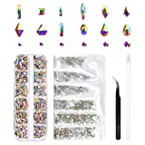 240 Piece Multi Shapes Glass Crystal AB Rhinestones For Nails Art 3D Decorations, Mix 12 Styles FlatBack Nail Crystals Gems Set (240 pcs Crystals+1728 pcs rhinestones) (Color: Crystal AB, Tamaño: 240 pcs Crystals+1728 pcs rhinestones)