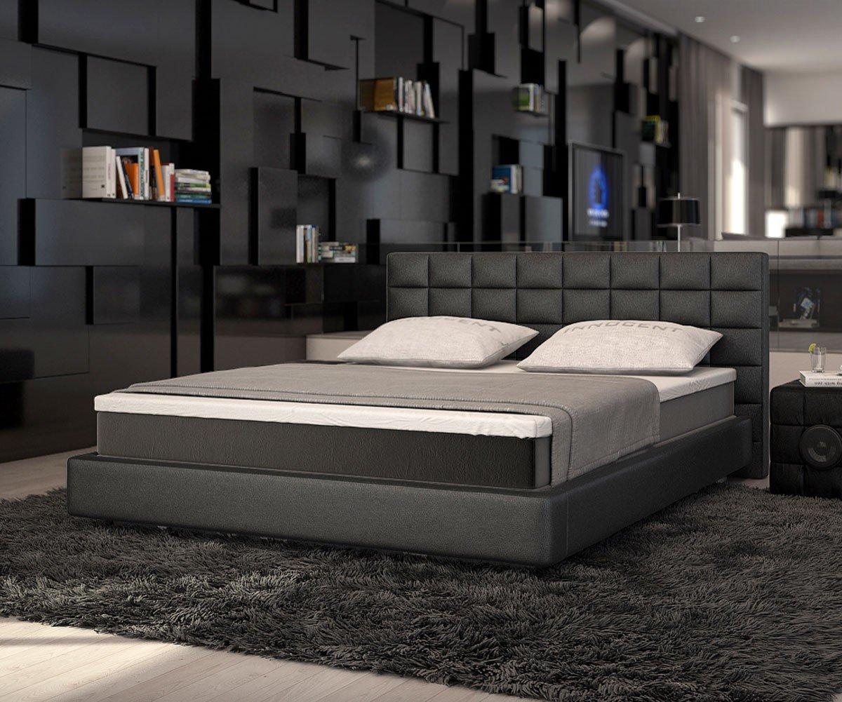 Bett Junis Schwarz 180×200 cm mit Topper und Matratze Boxspringbett günstig