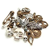 Bonayuanda 100 Gram Mixed Alloys Metal Antique Skulls-shaped Pendant Charms Bracelet Necklace DIY Jewelry Making Accessory