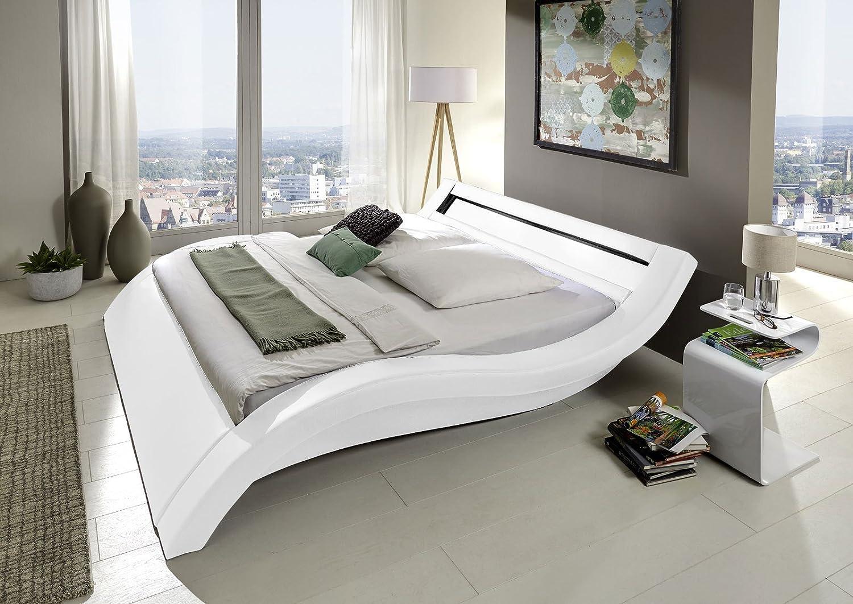 Design Polsterbett 200 x 200cm weiß mit LED Beleuchtung kaufen
