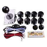 Easyget Zero Delay Pc Arcade Game Joystick Cabinet DIY Parts Kit for Mame Jamma & Fighting Games Support All Windows Systems - Color Black Kit (Color: Black)