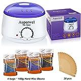 Auperwel Wax Warmer Waxing Kit - Hair Removal Hot Body Wax Heater Kit with 4 Hard Wax Beans 20 Waxing Spatulas