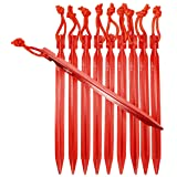 Raqpak Tent Stakes Aluminum Pegs 10 Pack with Pouch (Red, 7.5 Inches) (Color: Red, Tamaño: 7.5 Inches)