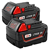 2Pack 6.0Ah 18V Replacement Battery for Milwaukee M18 Lithium Battery XC 48-11-1850 48-11-1840 48-11-1815 48-11-1820 48-11-1852 48-11-1828 48-11-1822 48-11-1811 Cordless Tool Batteries (Color: black+red, Tamaño: 6000mAh 2pack)
