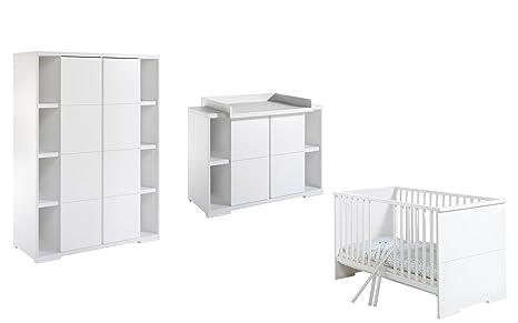 Schardt 118615202 Kinderzimmer Maximo, weiß, bestehend aus Kombi-Kinderbett, Wickelkommode und 2-turigem Kleiderschrank, 2 Seitenregalen