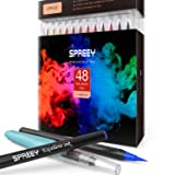SPREEY Brush Pens 48 Colors, Ink Made in Japan, for Watercolor Painting with Nylon Brush Tips, for Calligraphy and Art Drawings for Artists and Beginner Painters (Color: 48colors)
