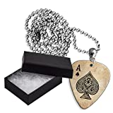Ace Of Spades Card Casino Boxed Metal Guitar Pick Necklace (GD)