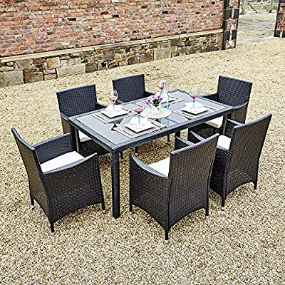 Rectangle Rattan Dining Table with 6 Chair Furniture Set, Indoor and Outdoor Use