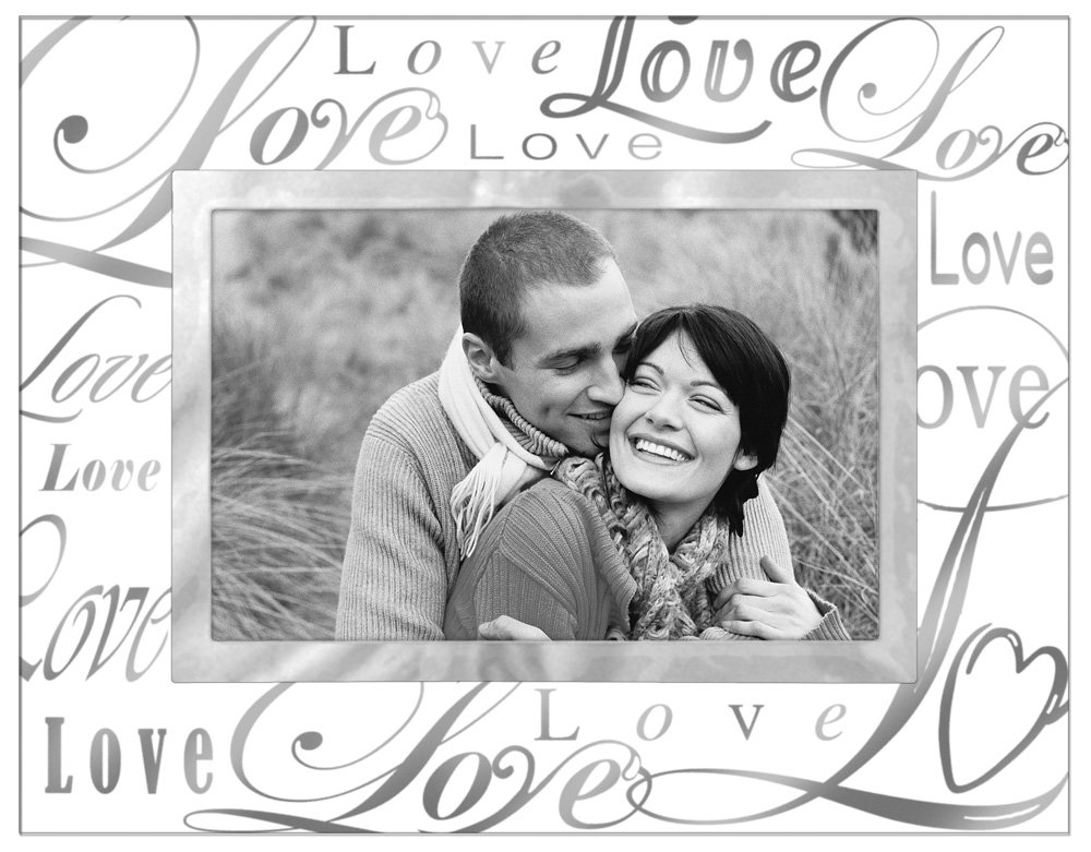 "Malden International Designs Beveled Glass ""Treasures Love"" Metal Picture Frame, 4 by 6-Inch, Silver – Single Frames"