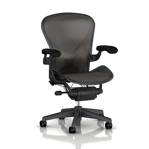 Aeron Chair by Herman Miller: Highly Adjustable - PostureFit Lumbar Back Support Cushion - Adjustable Arms - Tilt Limiter - Graphite Frame/Carbon Classic Pellicle - Size B (Medium')