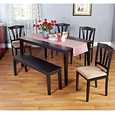 Metropolitan Brown/Espresso or Black 6-Piece Dining Set with Table, Bench and Five Chairs for Dining Room, Kitchen or Nook for Meals, Dinner, Supper, Lunch or Breakfast with Family and Friends (Black)