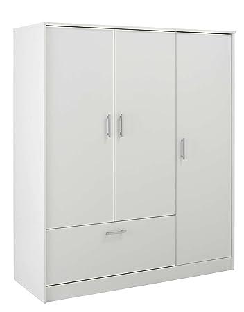 LASTMEUBLES 6040RAPT ORIZON Armoire avec Tiroir/3 Portes Panneaux de particules/Décor Imitation Blanc Megève 131 x 50 x 152,5 cm