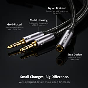 Headset Splitter Cable, Gold-Plated & Strong Braided Y Splitter Audio Cable Separate Microphone Headphone Port Gaming Headset Splitter PC Earphone Adapter VoIP Phone -DuKabel Top Series (Color: 1Female_2Male (30cm))